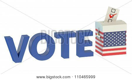 Ballot Box With Flag Of Usa