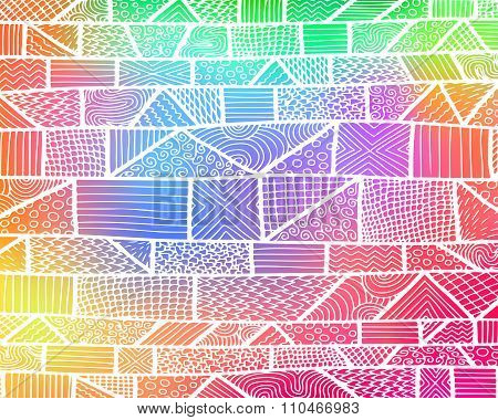 Zentangle Lines Rainbow Background 1