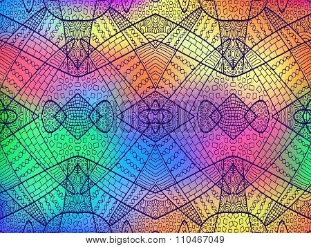Zentangle Ornament Rainbow Background 3