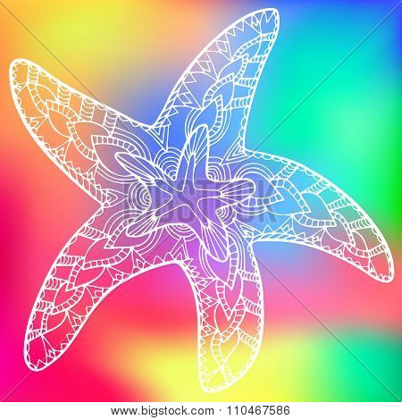 Zentangle Starfish Rainbow Background 1