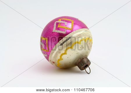 Antique Christmas pink and yellow ornament