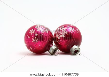 Antique Christmas ornaments with snowflake frost