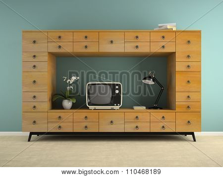 Part of  interior with retro consol and tv 3D rendering