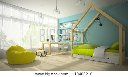 Interior of children room with toy car 3D rendering