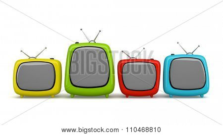 Multicolored cartoon TV isolated on white background