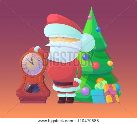 Vector illustration of Santa Claus with clock and gifts