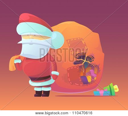 Vector illustration of Santa Claus with gifts