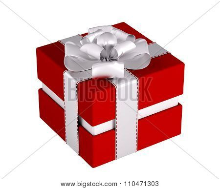 Red Gift Box Isolated 3D Rendering