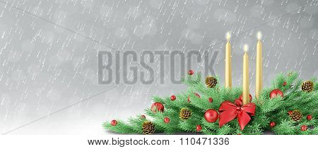 Christmas Background With Decoration 3D Rendering