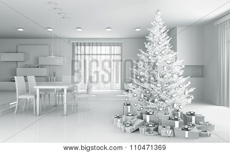 Interior Of A White Apartment With Christmas Tree 3D Rendering