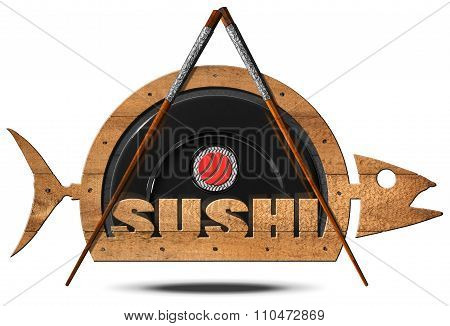 Sushi - Symbol With Wooden Fish