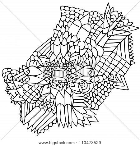 Zentangle Elements Figure Simple Black White 2