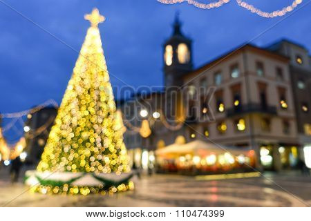 Traditional Christmas Tree With Decorative Glittering Lights