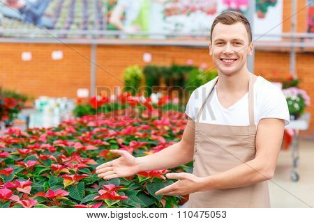 Smiling florist demonstrating flower variety.