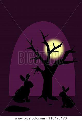 Rabbits in Moonlight