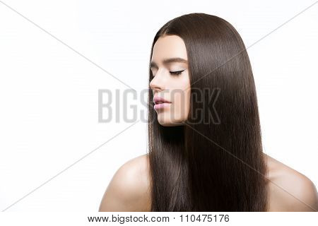 Beautiful girl with healthy shiny hair