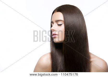 Beautiful girl with healthy shiny hair