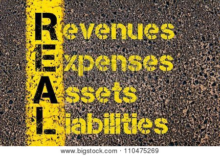 Accounting Business Acronym Real Revenues Expenses Assets Liabilities