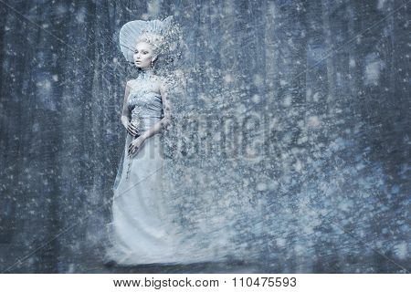 Fairy tale snow queen in magic forrest