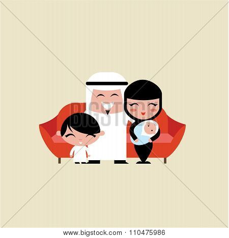 happy young muslim family