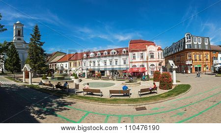 Panoramic View Of Namestie Svateho Egidia, Poprad Old Town, Slovakia