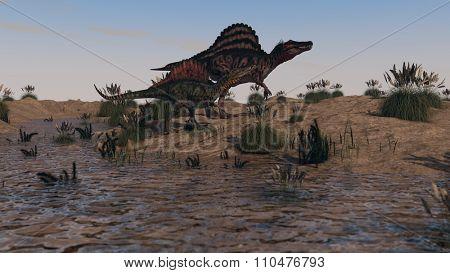 two walking spinosaurus