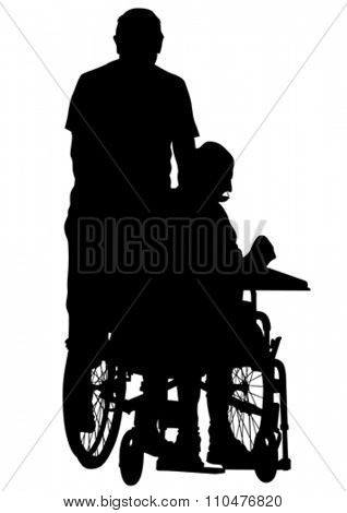Silhouettes man in wheelchair on white background