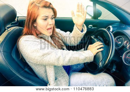 Angry  Woman Driving Convertible Car Gets Mad At Motorist - Businesswoman Using Gestures Due Traffic