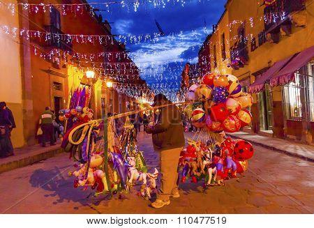 Balloon Seller Shops Night San Miguel De Allende Mexico