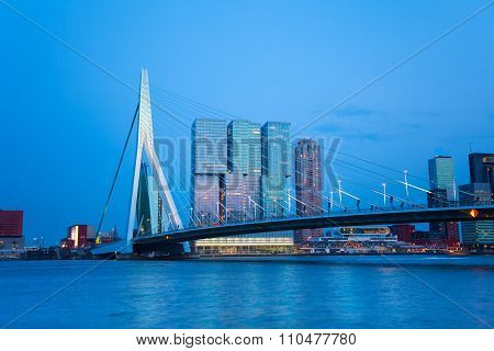 Erasmusbrug bridge view at evening in Rotterdam