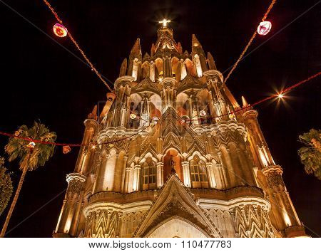 Facade Parroquia Christmas Archangel Church Night San Miguel De Allende Mexico