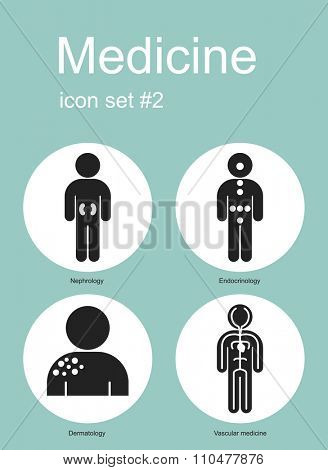 Medical icon set. Raster image.