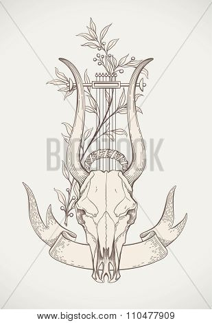 Vintage styled print design with a lyre-horn animal skull. Raster image.