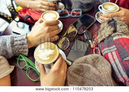 Hands Holding Capuccino Cup - Group Of Friends Having Fun In Cafe Drinking Decorated Milk And Coffee