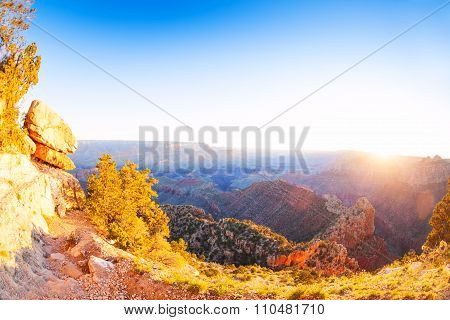 Sunrise in Grand canyon with sun over other rim