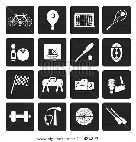 Black Simple Sports gear and tools icons