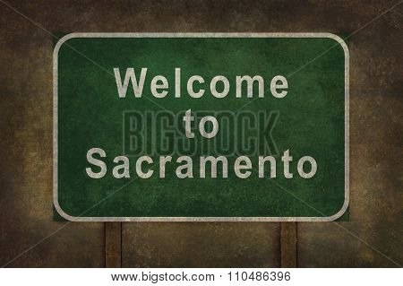 Welcome To Sacramento, Roadside Sign Illustration