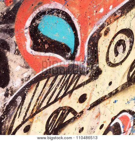 VARNA - 18 November, 2015: Detail of drawing on a concrete wall. Grunge concrete surface