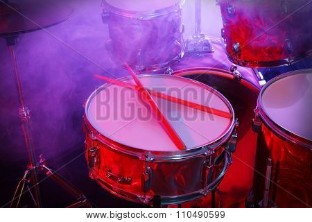 Drums set and sticks, close-up