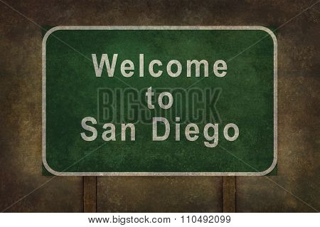 Welcome To San Diego Roadside Sign Illustration