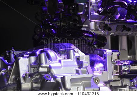 Violet Light Irradiation Car Engine Of Close-up