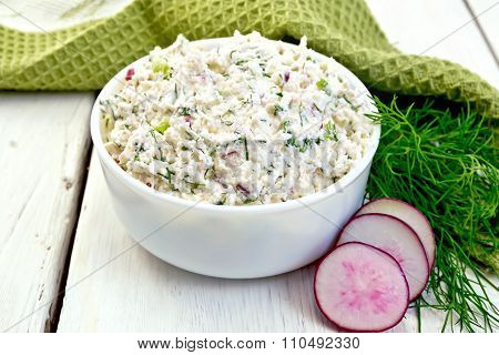 Pate of curd and radish on board