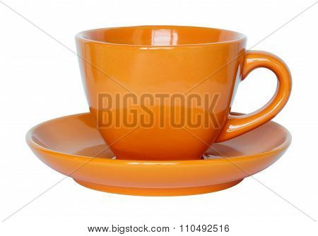Empty Orange Cup And Saucer Isolated On White With Clipping Path