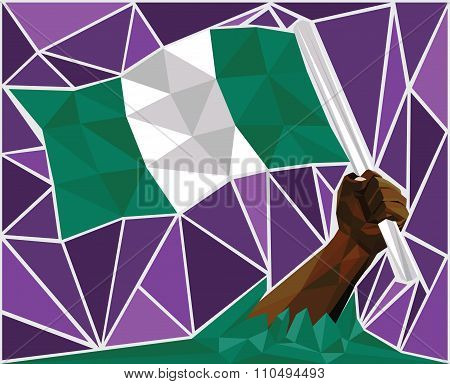 Powerful Black Man Hand Raising The Flag Of Nigeria