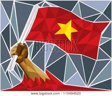 Powerful Hand Raising The Flag Of Vietnam