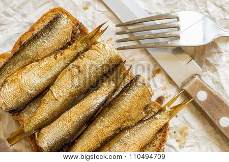 Rustic Breakfast With Sardines