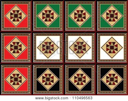 Stylized Uae Flag Crafted Form Ornamental Arabian Wooden Mosaic Square Tiles