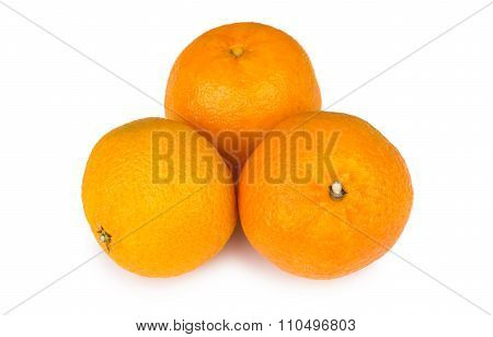 Three Ripe Tangerine Isolated On White