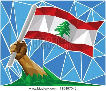 Patriotic Man Raising The National Flag Of Lebanon
