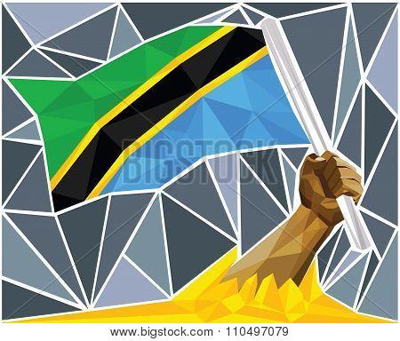 Patriotic Powerful Man Arm Raising The National Flag Of Tanzania